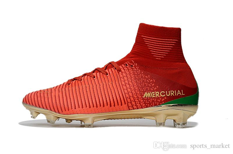 e31b688a12 Compre 2018 Ronaldo 7 Botas De Futebol De Ouro Vermelho CR7 Original  Crianças Sapatos De Futebol Interior Mercurial Superfly V FG   TF SX Neymar  Jr ...