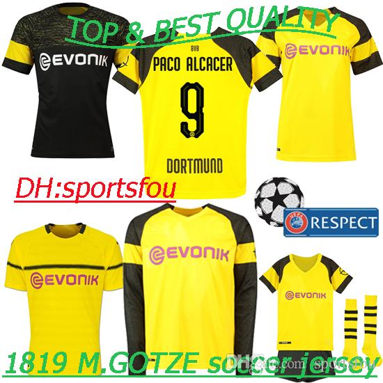 c320108dc45a 2019 Thailand 18 19 Soccer Jerseys Champions League Borussia AUBAMEYANG  M.GOTZE PULISIC KAGAWA REUS Have Player Version Kids Kit Football Shirt  From ...