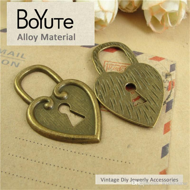 BoYuTe  25*40MM Antique Bronze Plated Metal Heart Lock Charms Pendants for Necklace Diy Necklace Jewelry Making Findings