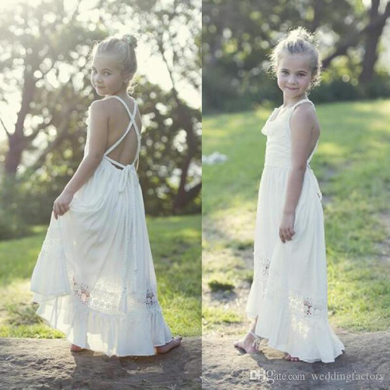 4ae2e1154ab2 Country Style Boho Flower Girl Dresses Beach Wedding Party Spaghetti ...