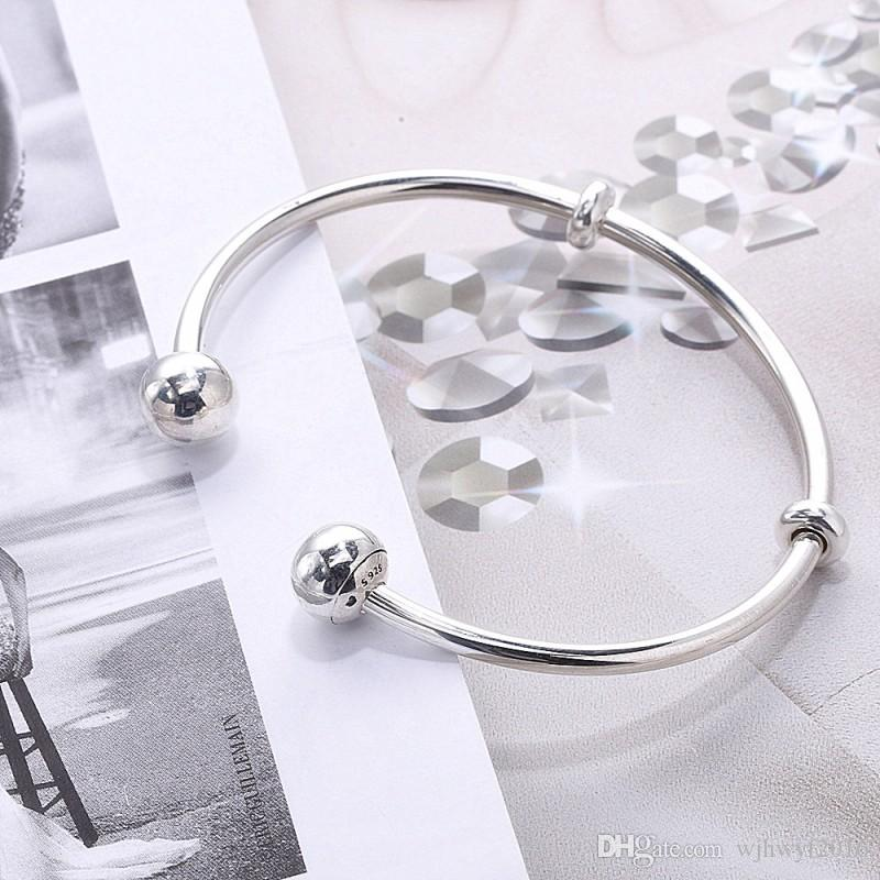 Original 925 Sterling Silver Shimmering Screw Open Bracelets For Women Crystal Bangle Sterling Silver Jewelry Fits European Beads P20