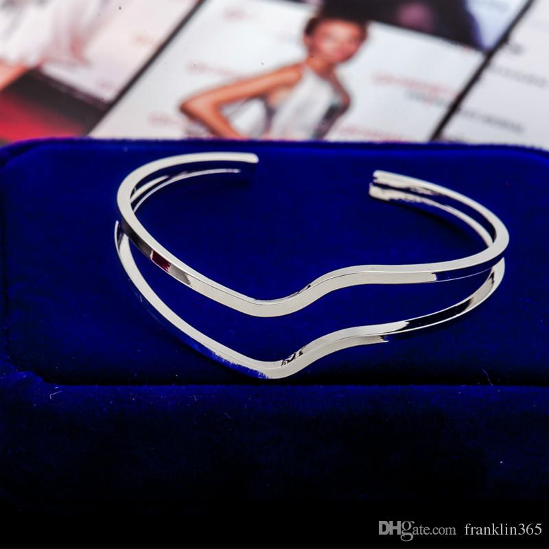 Wave en forma de brazaletes para las mujeres de oro plata negro Rose Gold Cuff brazalete de la joyería de moda regalos de vacaciones