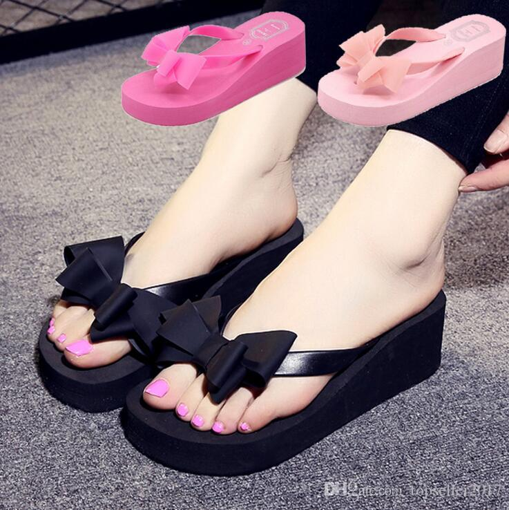 c21e64f10c5450 BLACK+RED+PINK Summer Sweet Women High Heel Flip Flops Slippers Wedge  Platform Beach Home Flat Slippers Female Sandals Bowtie SIZE 36 40 Silver  Shoes ...