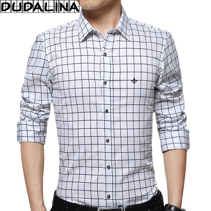 bd5b9380a9 Compre DUDALINA 100% Algodão Homens Camisa De Manga Longa Camisa Xadrez  Roupas Masculinas Slim Fit Casual Camisa Social Importados China E52205 De  ...