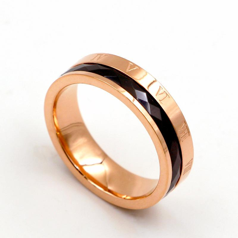 whole sale2018 Fashion Love Black Ceramic Roman Numerals Rings Women Rose Gold Color Stainless Steel Party Wedding Gift