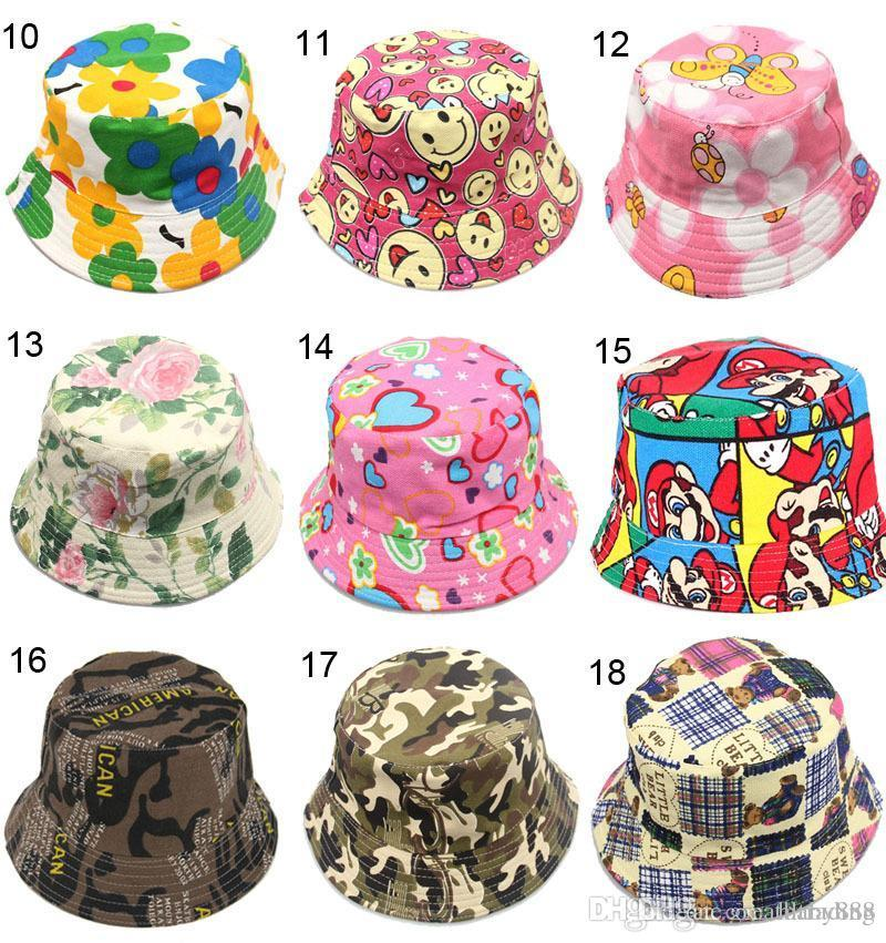 20c0c6588cb 2019 30 Style Cartoon Flower Printed Picture Kid Girl Sun Hat Colorful Baby Bucket  Hats Canvas Children Beanie Emoji Cap Hat E941 From Hltrading