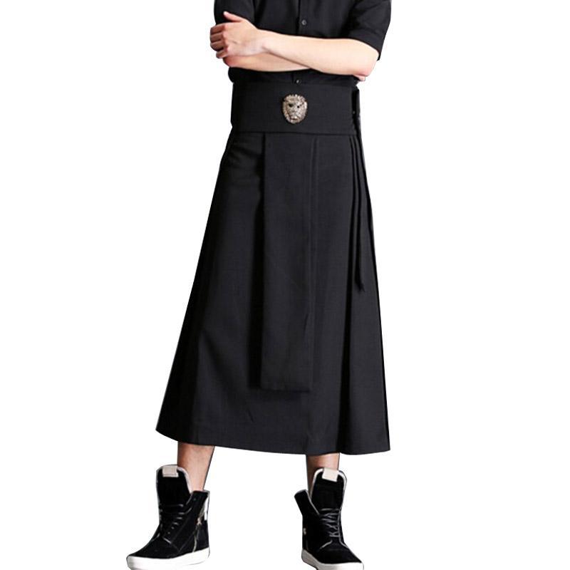 97524759b Falda masculina Pantalón de calle Moda Hiphop Punk Pantalón Harem casual  Hombres Pantalones de pierna ancha Escenario Show Traje