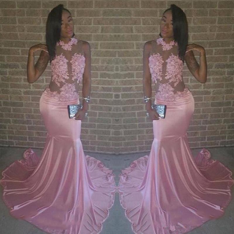 Abiti da ballo rosa africani lunghi 2018 Sexy vedere attraverso appliques in pizzo Sirena in rilievo Sweep Train Abito da sera formale Usura feste