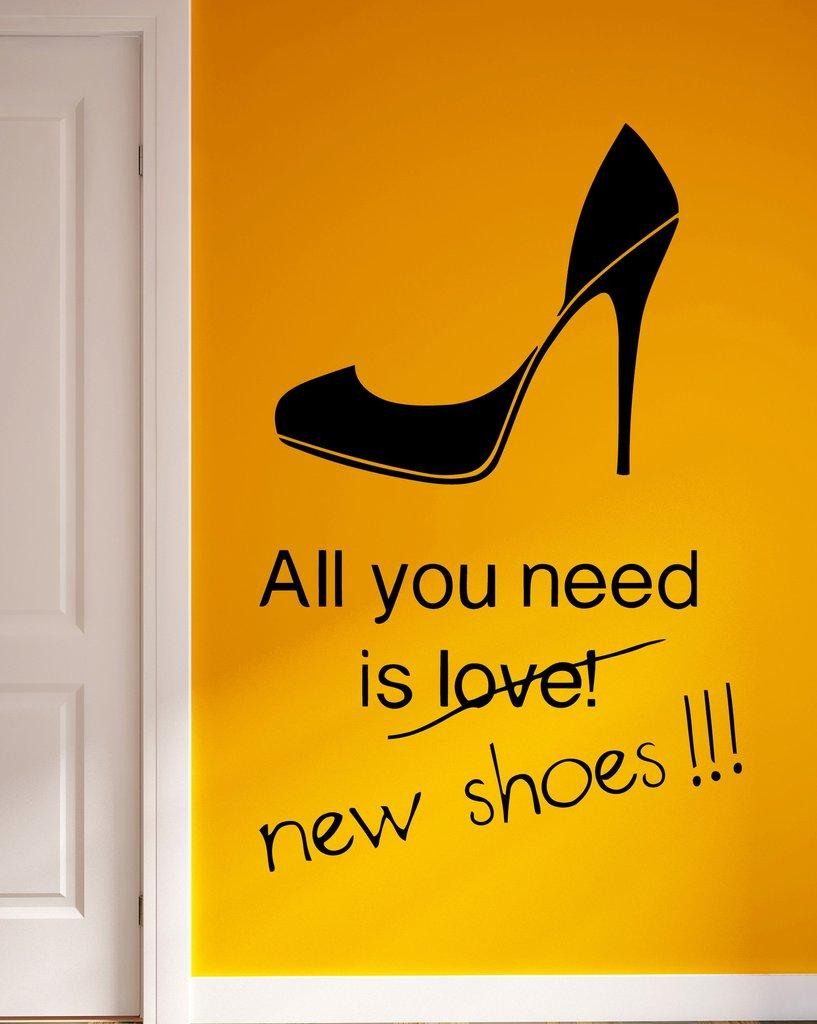 High Heels Wall Decal Removable Wallpapers For Room Decor English ...