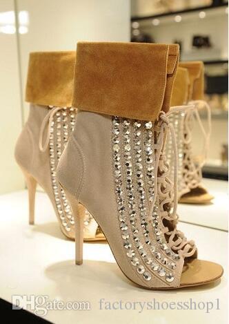 2018 zapatos de las mujeres de lujo más nuevos de alta calidad de la venta caliente de la manera Sexy Crystal zapatos de tacón delgado de gamuza recortar tobillo de gran tamaño 10