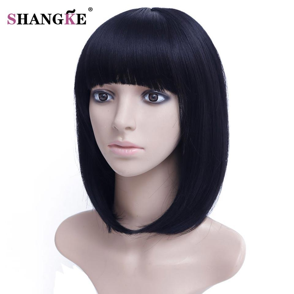 SHANGKE 14'' Black Bob Wig Short Synthetic