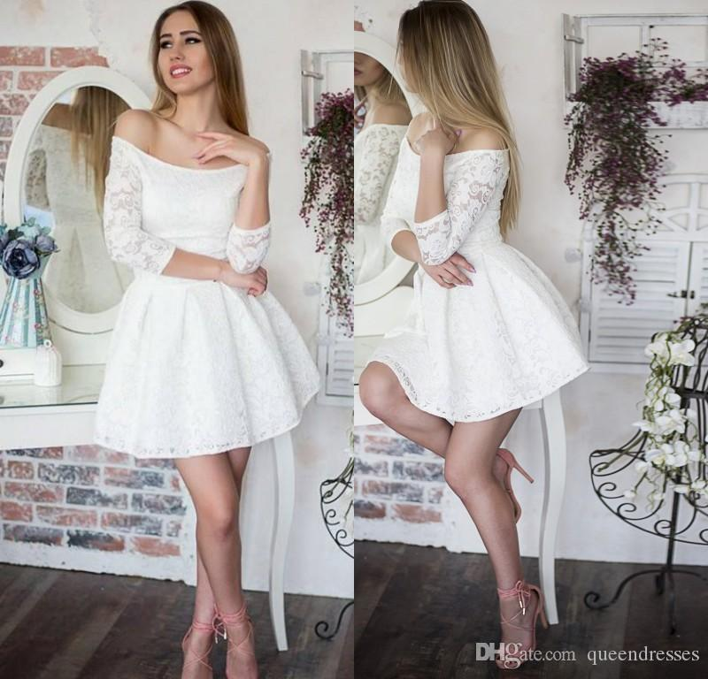 7865d8d0b728 Elegant White Lace Homecoming Dresses Long Sleeve Off Shoulder A Line Mini  Sweet 16 Party Dress Graduation Evening Gowns Custom Made Online Gowns On  Sale ...