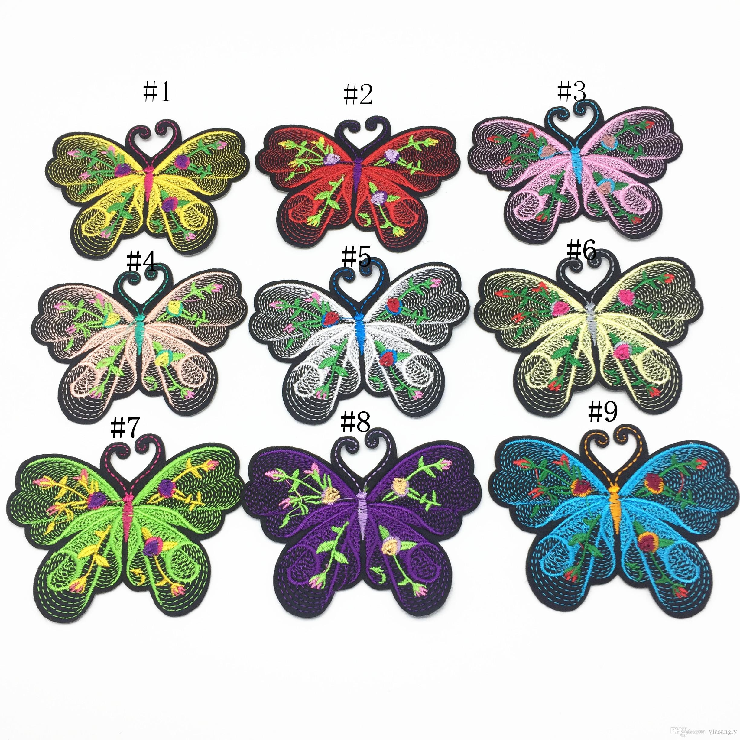 9pcs 80x65mm Mixed Butterfly Embroidered Iron on Clothing Patches Applique Sewing DIY Patch Accessory