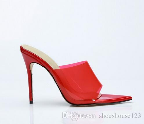 b9e90dd08ab Summer Sexy Stiletto Heels Women Shoes Red Transparent PVC Slingback Women  Pumps Open Toe High Heels Women Sandals White Shoes Silver Sandals From ...