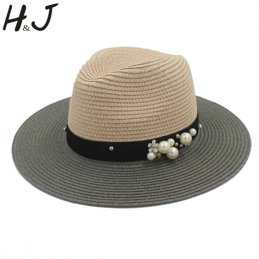 4a9933c7a7cc Moda para mujer verano Toquilla paja Panamá sombrero para el sol para  elegante dama ancho perla flor femenina Sunbonnet Floppy Beach Cap