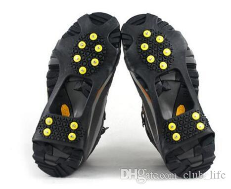 New10 Steel Studs Ice Cleats Ice Snow Grips Over Shoe Boot Cover Traction Cleat Rubber Spikes Anti Slip Ski Snow Hiking Climbing Gripper