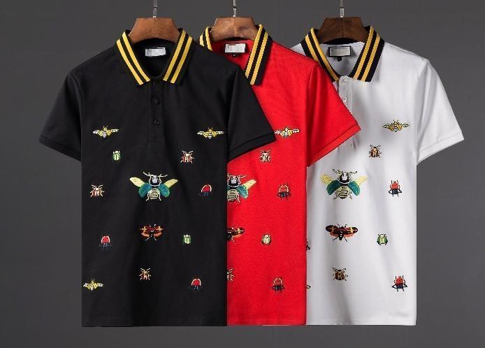 81e7214b68f7e Compre Mais Novo Homens Moda T Shirt De Luxo Designer De Manga Curta  Personalidade Casuais Abelha Múltipla Bordado Tops Camisa Polo Dos Homens  De ...