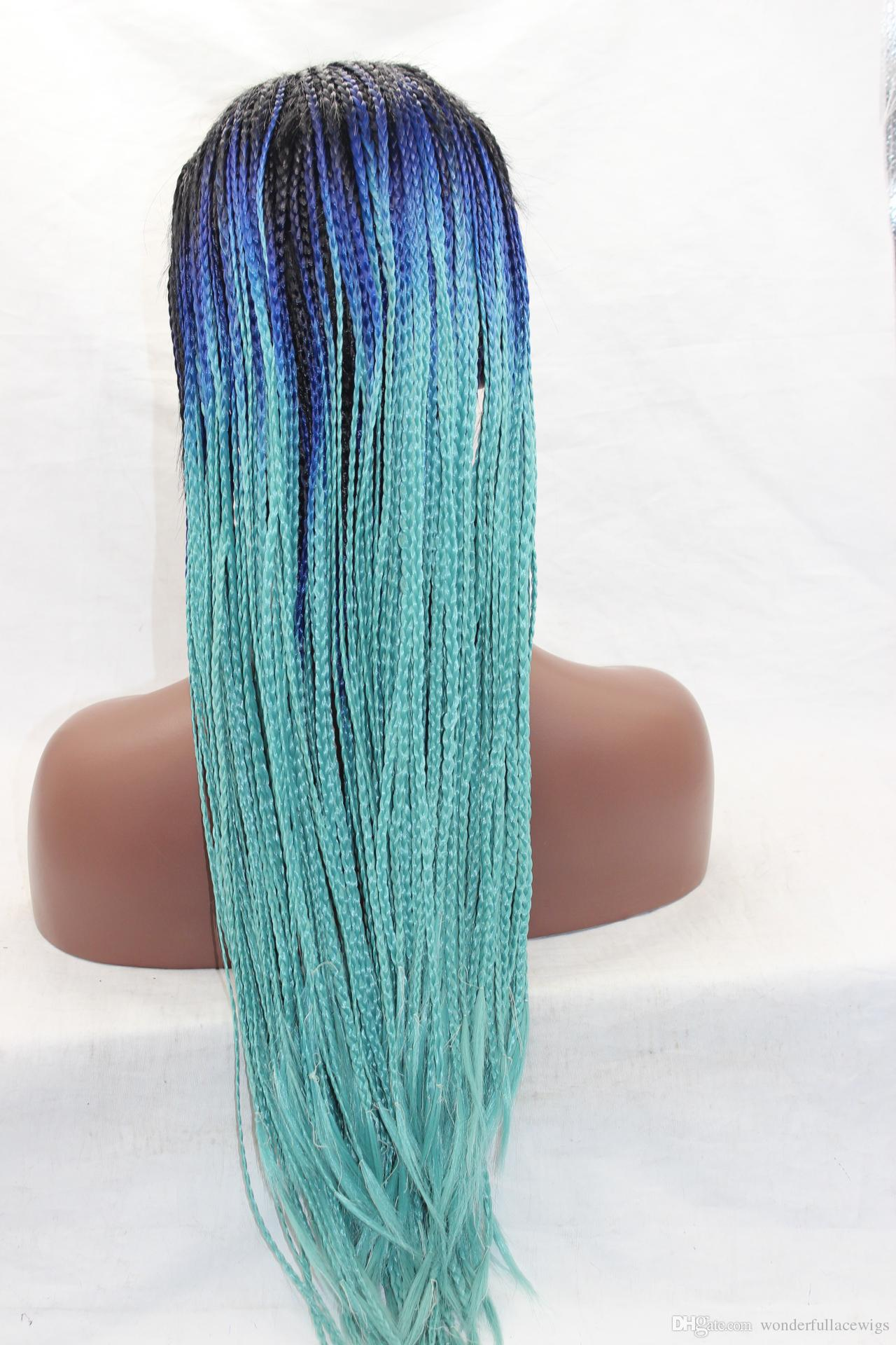 "Cheap Long 24"" Long Synthetic Lace Front Wigs for Women Black Ombre Blue Box Braided Wigs African American Coaplay Party Wig"