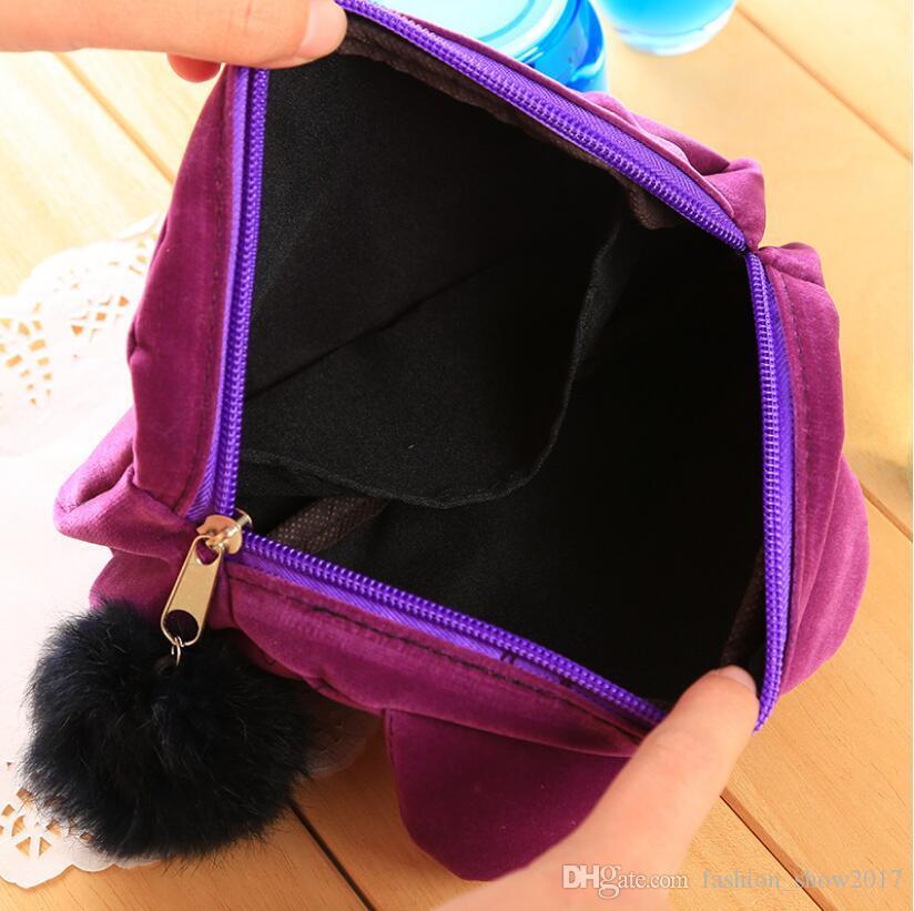 Gatos encantadores 3D Bolsas de cosméticos de viaje de franela Estuche de maquillaje Bolsa de las mujeres de aseo Organizador de la cremallera de dibujos animados gato Monedero Bolsa de almacenamiento