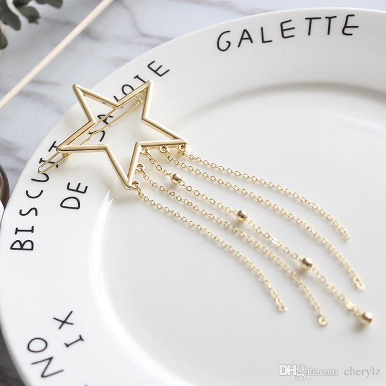 Fashion Jewelry Five-Stars Hair Clip Hollow Out Star Tassel Hairpin Hair Pins
