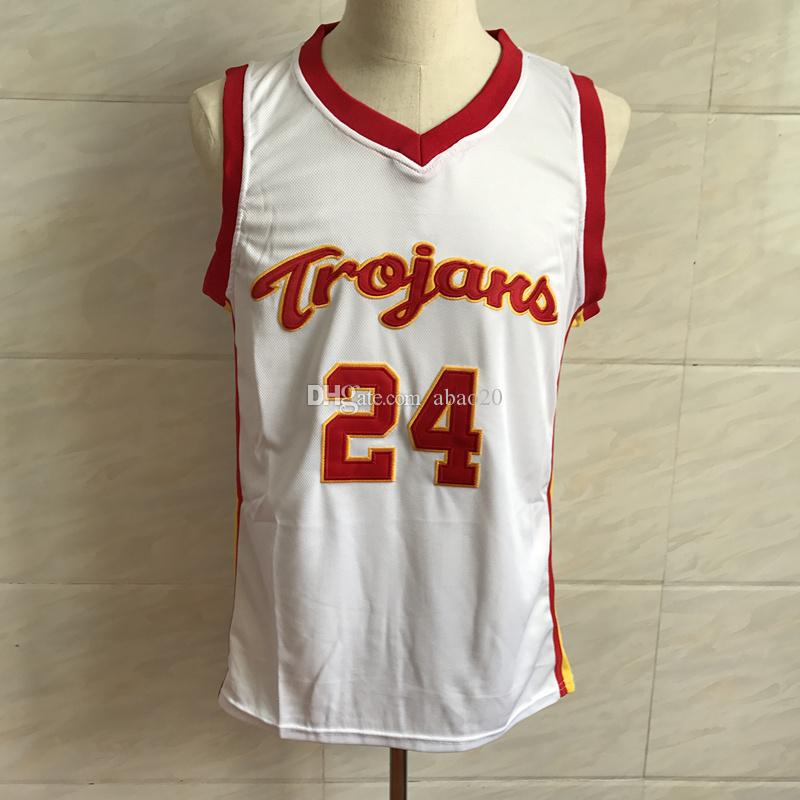 on sale 0655c 4b871 #24 Brian Scalabrine usc Trojans College Classic Basketball Jersey White  Men s Embroidery Stitches Customize any Number and name jerseys