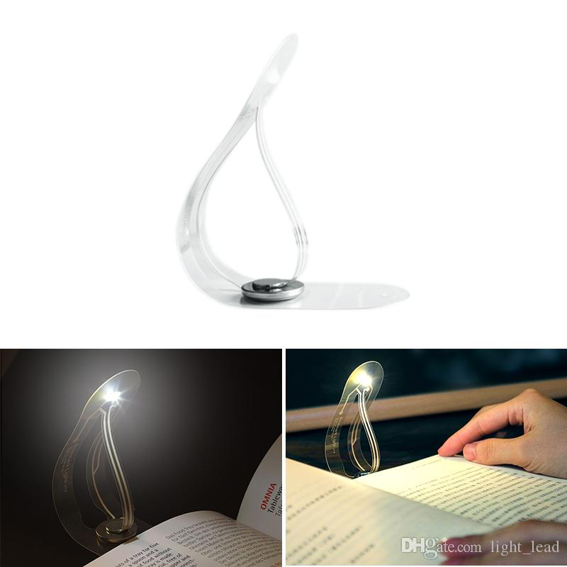 Ultra Thin Flexible LED Book Light Creative Bookmark Innovation Mini Small Table Lamp Novelty Night Light Button Battery Light