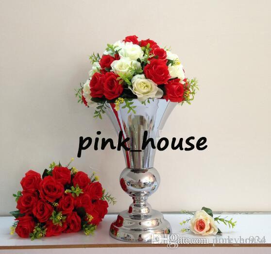 DHgate.com & elegant new modal Tall sliver color metal flower stand flower pot wedding vases for wedding centerpieces flower vase table centerpieces