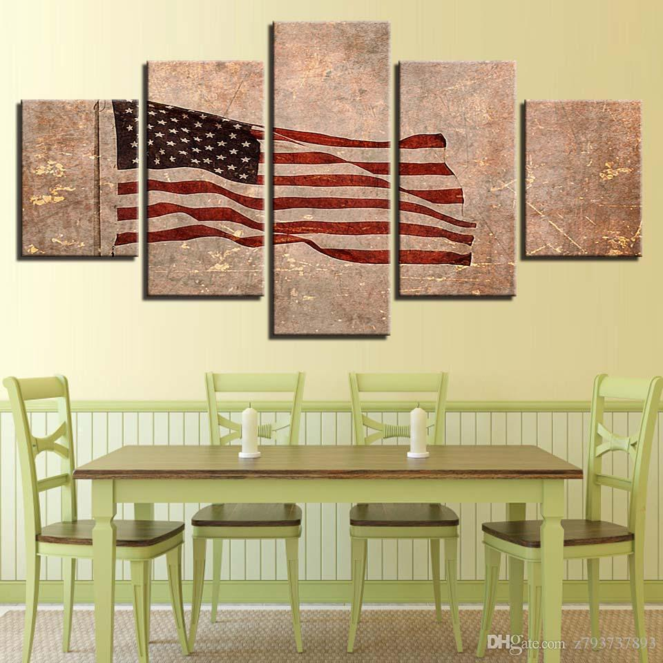 2018 Painting Artworks Modular Canvas Picture American Flag ...