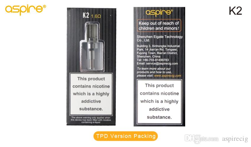 Genuine Aspire K2 Tank Atomizer 1.6ohm BVC Bottom Vertical Coil K2 BVC Glassomizer Suitable For Aspire K2 Quick Starter Kit