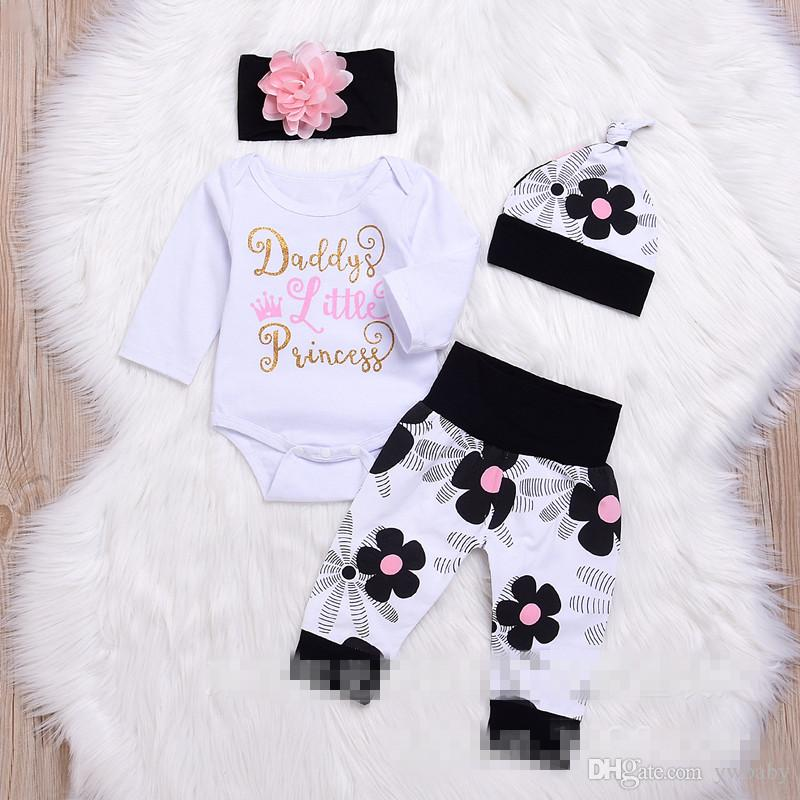 2a4874d6d14 2019 Christmas Newborn Baby Girl Clothes Children Sets Bebe Letter Romper  With Flower Pants With Caps Kids Autumn Clothing Outfits From Ywbaby