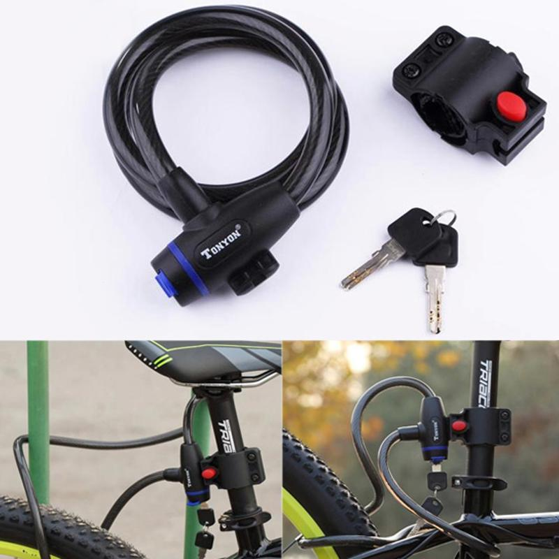 41581b97985b Universal Bicycle MTB Mountain Bike lock Anti-theft Ring Wire Rope Lock  Security Steel Spiral Cable Bicycle