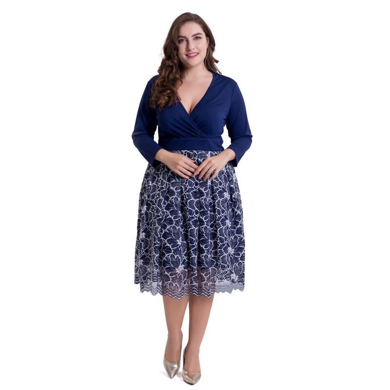 Plus Mode Femmes 5xl Bureau Robe Élégante Robes Party Droite La Printemps Dentelle Vestidos 2018 Été Grande Bleu Taille OkiZlXTwPu