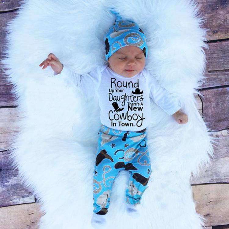 516f8c4edda5f Baby Romper Sets Cotton Clothing Set Baby Boys Girls Sets Clothes Romper  Hat Pants Baby boy clothes suit