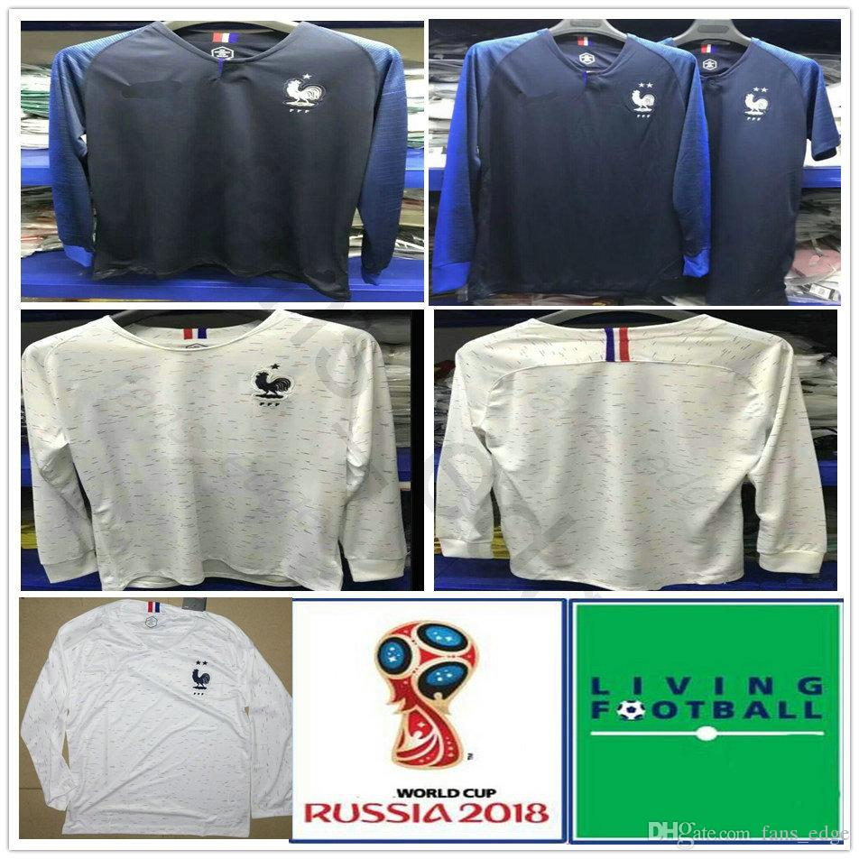 8e17f46e2 2019 2018 Long Sleeve French Soccer Jerseys 7 GRIEZMANN 6 POGBA 10 MBAPPE  11 DEMBELE KANTE UMTITI Customize Blue White Football Shirt 2 Stars From  Chen_shop ...