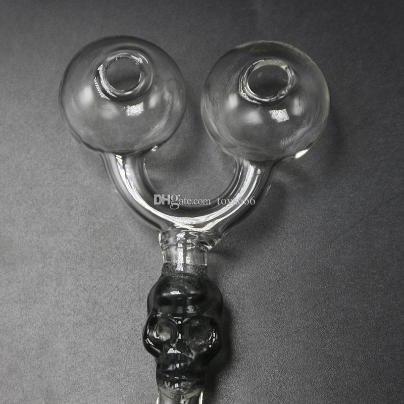 Tuyau en verre à double brûleur ART Tube crâne Oil Rig pour installations de narguilé à chicha en stock