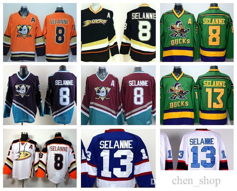 cheap for discount 35503 bec9c Anaheim Ducks 8 Teemu Selanne Jerseys Ice Hockey Stadium Series Vinatge  Fashion Team Color Black White Red Green Orange Purple