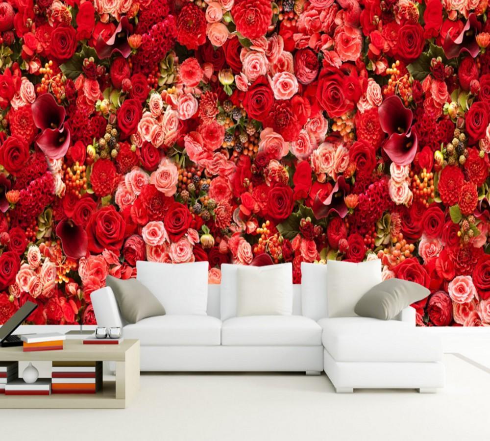 Acheter Livraison Gratuite Rouge Rose Mer Bouquet Theme Salon Fond