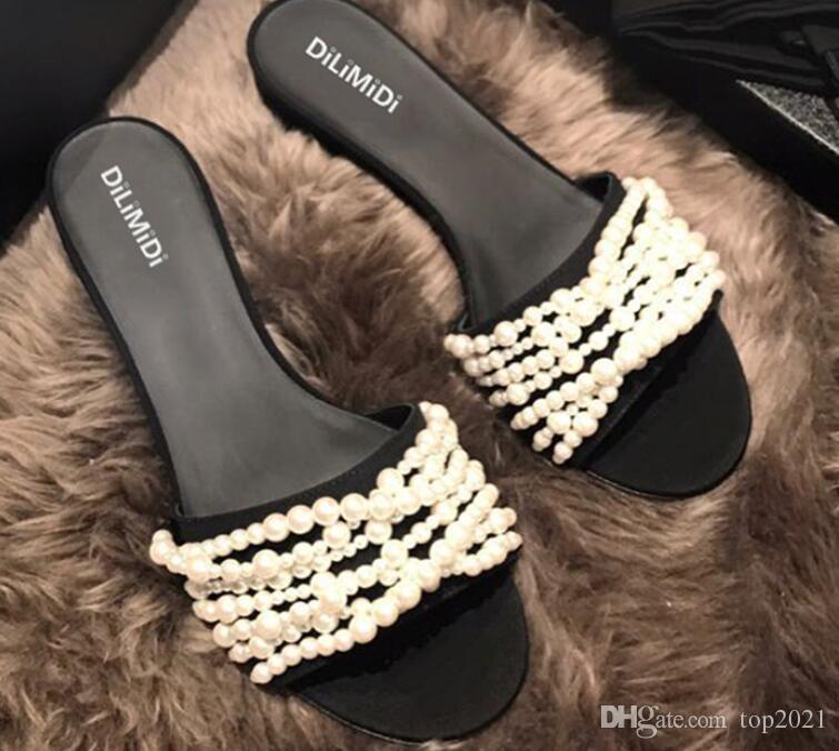 Women Slippers Summer fashion brand sexy Classic Luxury Cool Pearl chain Suede lambskin travel sea Beach flat flip flops