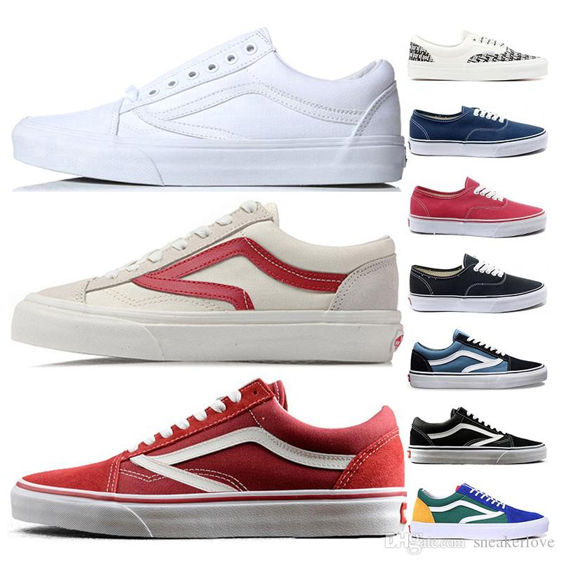 71e849929b8a Classic Brand Girls Sateboarding Shoes Old Skool Triple White Red ...