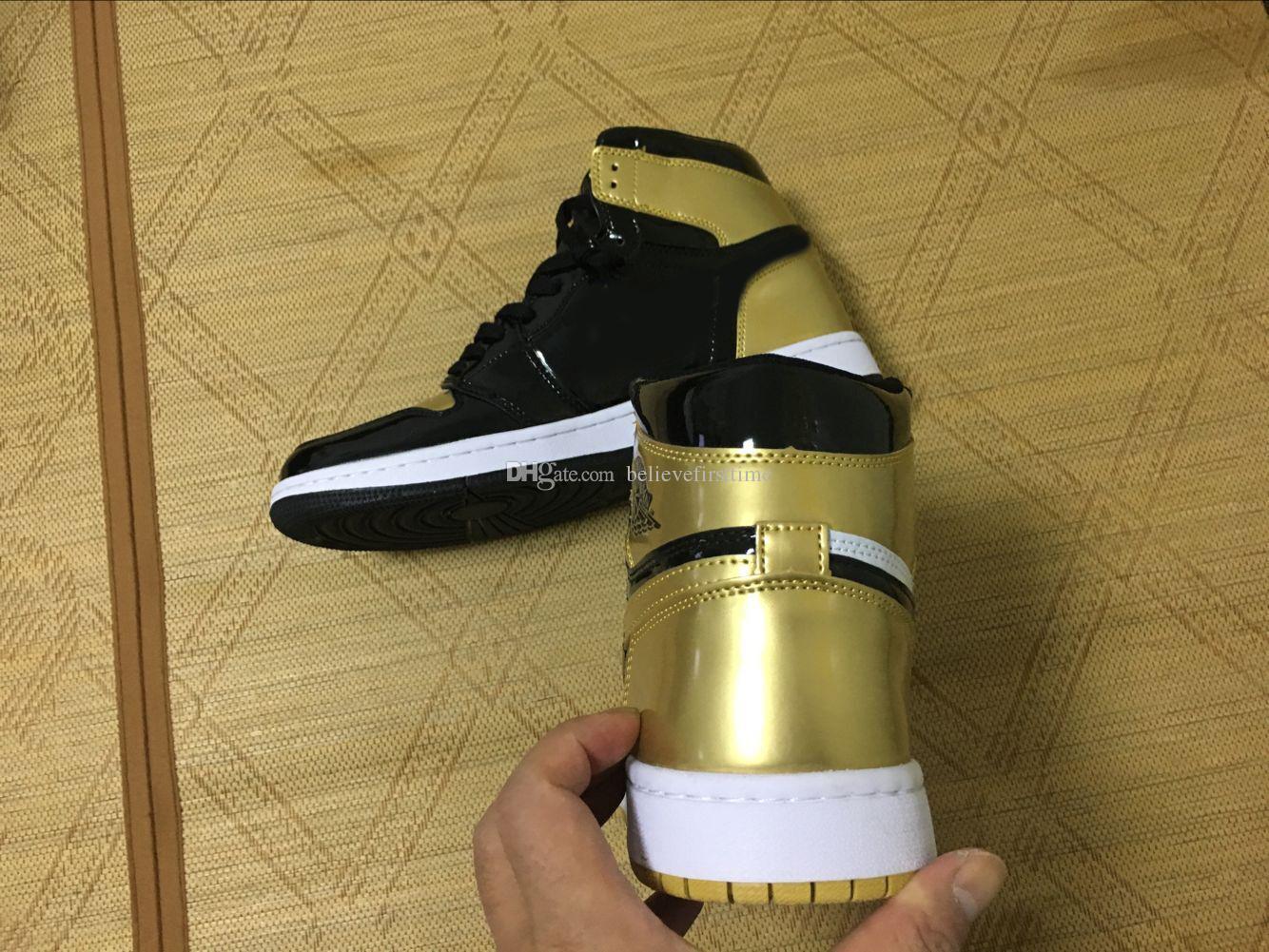 56c20404e4c833 Air Retro 1 I High OG NRG Black White Gold Top 3 ComplexCon 861428 001 Mens  Basketball Shoes J1 Man Sports Sneakers With Box Sports Shoes Basketball  From ...