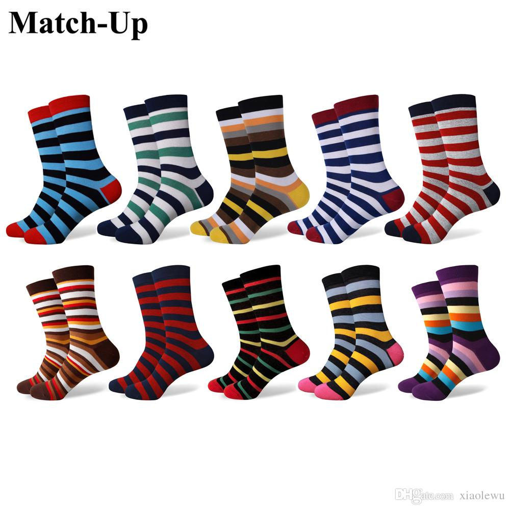 4dff15510 2019 Match Up Fun Dress Socks Colorful Funky Socks For Men Cotton Fashion  Patterned Socks Stripe Style From Xiaolewu, $34.72 | DHgate.Com
