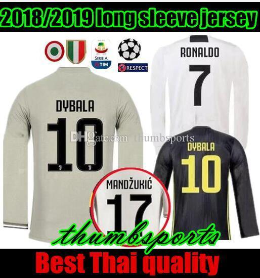 b4ff7b7313464 2019 Long 18 19 Ronaldo Juventus Soccer Jersey Away Gray 2018 MANDZUKIC  MATUIDI DYBALA Bonucci D.COSTA Home Third Champions League Football Shirt  From ...