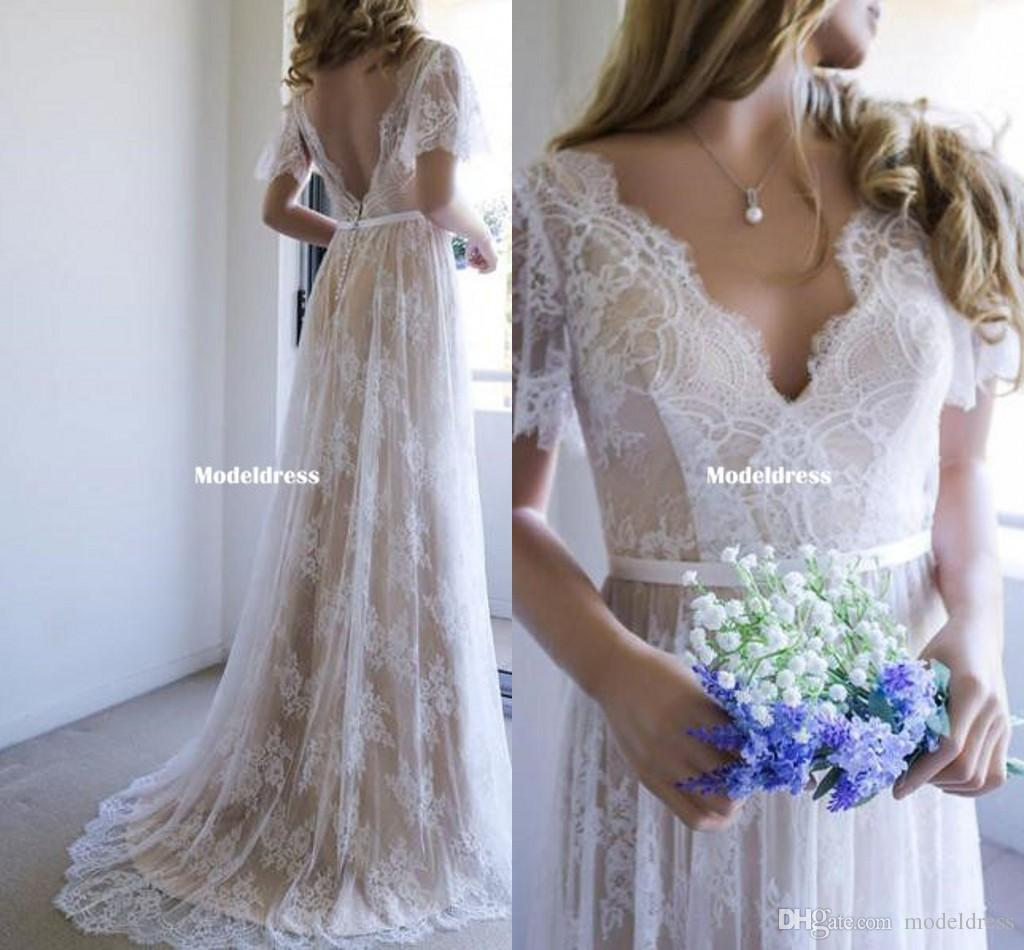 Bohemian Lace Wedding Dresses 2018 Cheap V-Neck Open Back Short Sleeve Summer Boho Champagne Bridal Gowns Sweep Train Custom Made