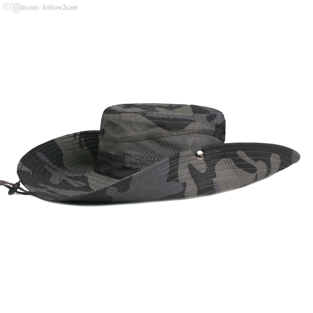 0c7510d05b7 2019 Mens Summer Wide Brim Fishing Hats Male Outdoor Sun Protection  Breathable Sunshade Camouflage Fishing Fisherman Caps From Follow2cart