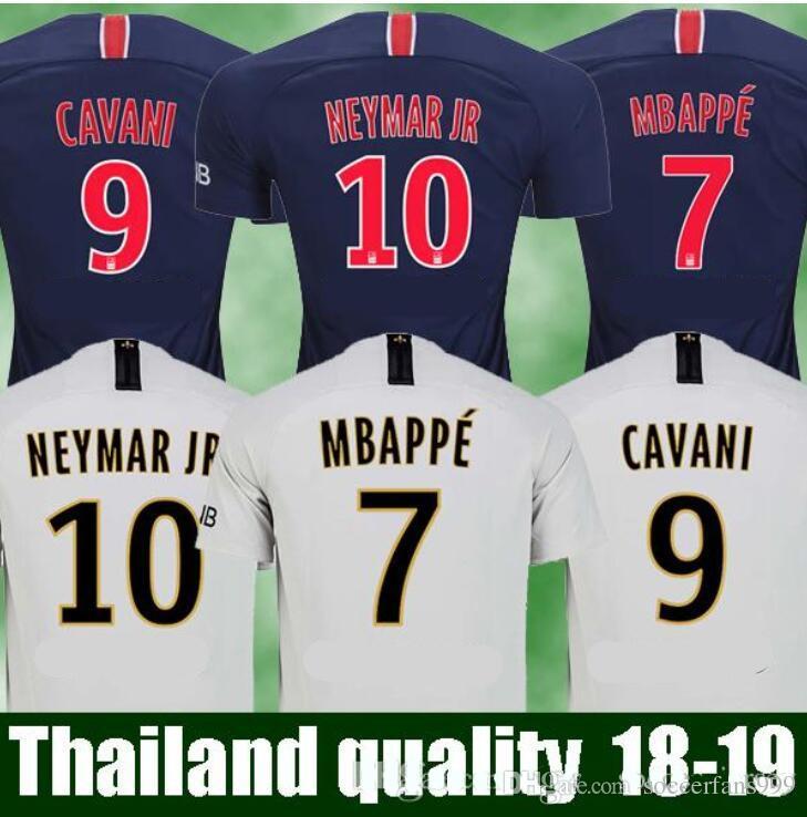 best authentic 10b8d 802fd Mbappe soccer jersey 18 19 away white Neymar jr football jersey Di Maria  Verratti Cavani shirts 2018 2019 camiseta de futbol jersey