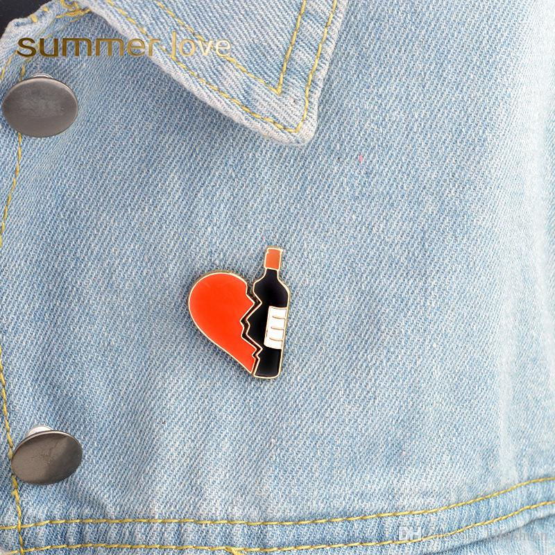 1pcs New Car Heart Red Wine Ribbon Badge Diy Clothing Decorative Accessories Cartoon Funny Metal Brooch Clothes Jeans Jewelry Home & Garden