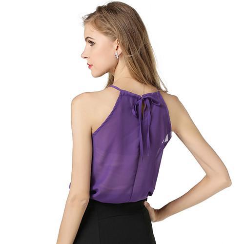 Женские летние ремень рукавов рубашки шифон свободные жилет Майка блузка футболка