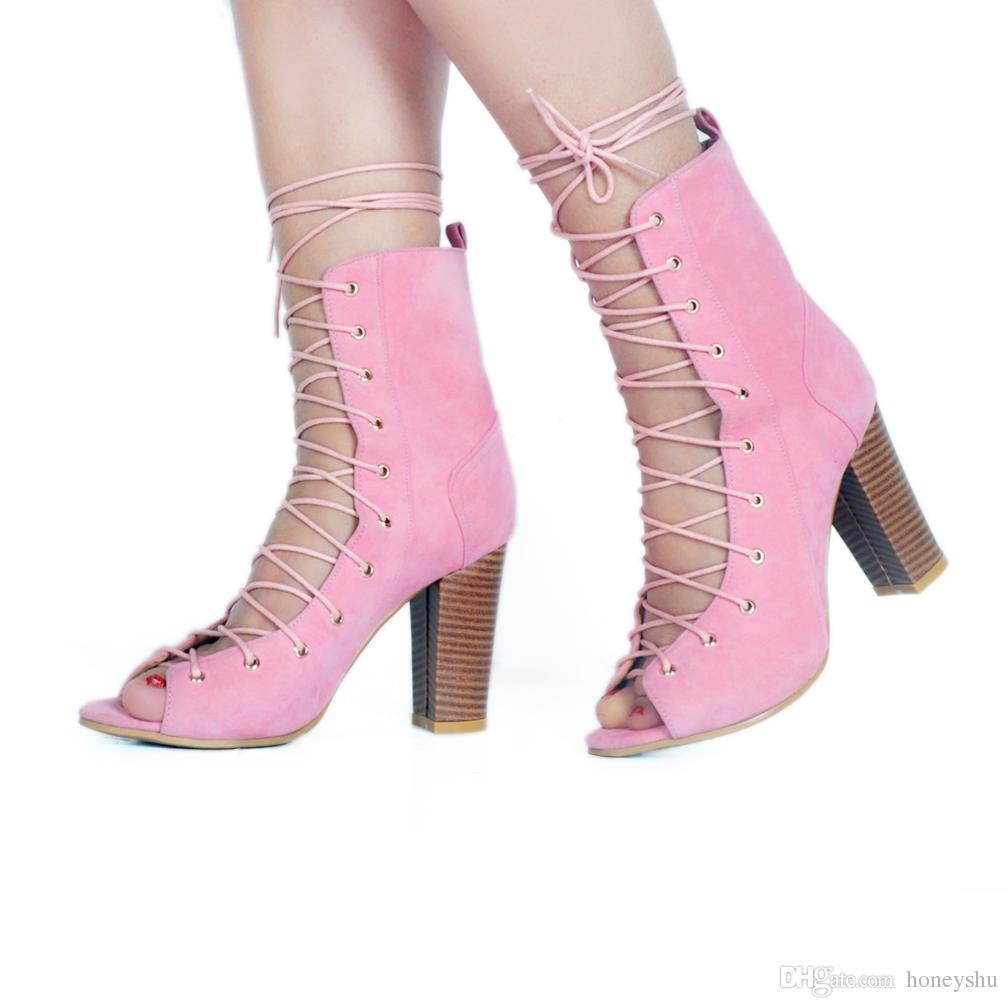 Kolnoo Novo Estilo Artesanais Mulheres Senhoras Grosso Bombas de Salto Alto Crosscriss Lace-up Doce Clube de Vestir Clube Moda Verão Sapatos A023