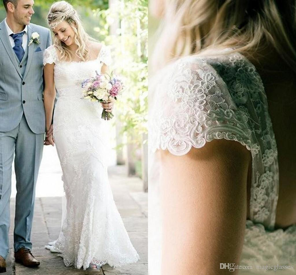 9e304b72498ec Vintage Ivory Lace 2018 Wedding Dresses Cap Sleeves mermaid Summer Bridal  Gowns Square Neckline Floor Length Retro Wedding Reception Dress