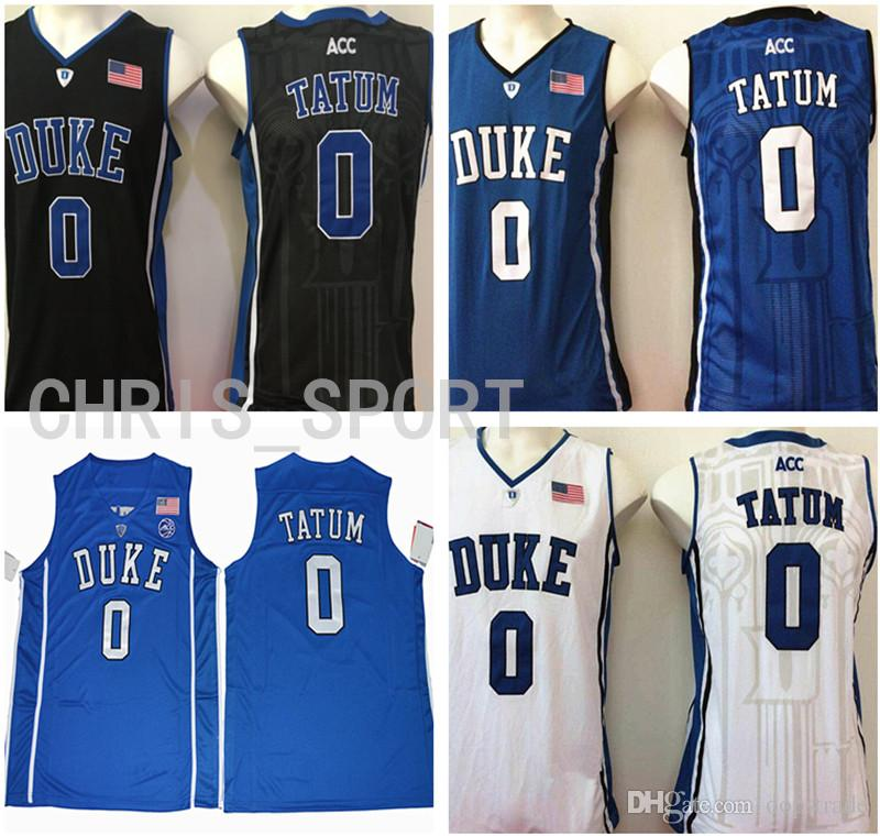 Duke College Custom Jerseys Blue Devils Embroidered Basketball Jerseys  Jayson Tatum  0 Player White blue black boston Uniform Jayson Tatum  Basketball ... 36262c160